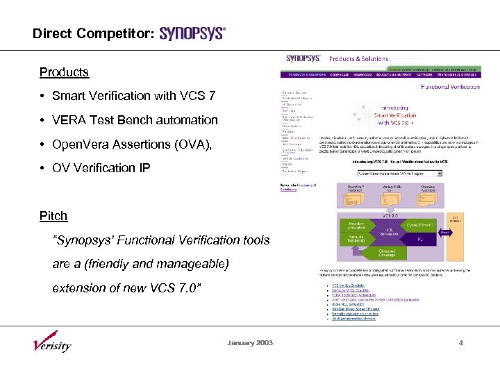 Direct Competitor: Products • Smart Verification with VCS 7 • VERA Test Bench automation