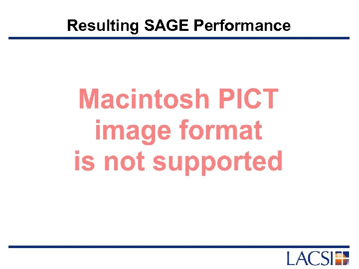 Resulting SAGE Performance