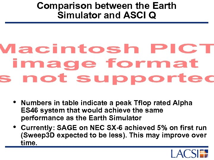 Comparison between the Earth Simulator and ASCI Q • • Numbers in table indicate