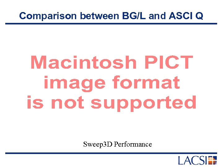 Comparison between BG/L and ASCI Q Sweep 3 D Performance