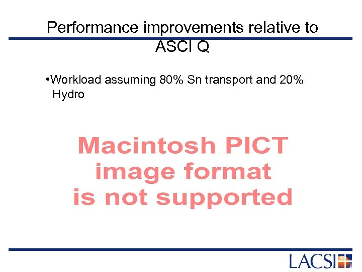 Performance improvements relative to ASCI Q • Workload assuming 80% Sn transport and 20%