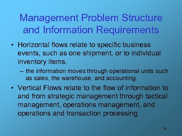 Management Problem Structure and Information Requirements • Horizontal flows relate to specific business events,