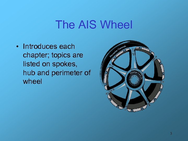 The AIS Wheel • Introduces each chapter; topics are listed on spokes, hub and