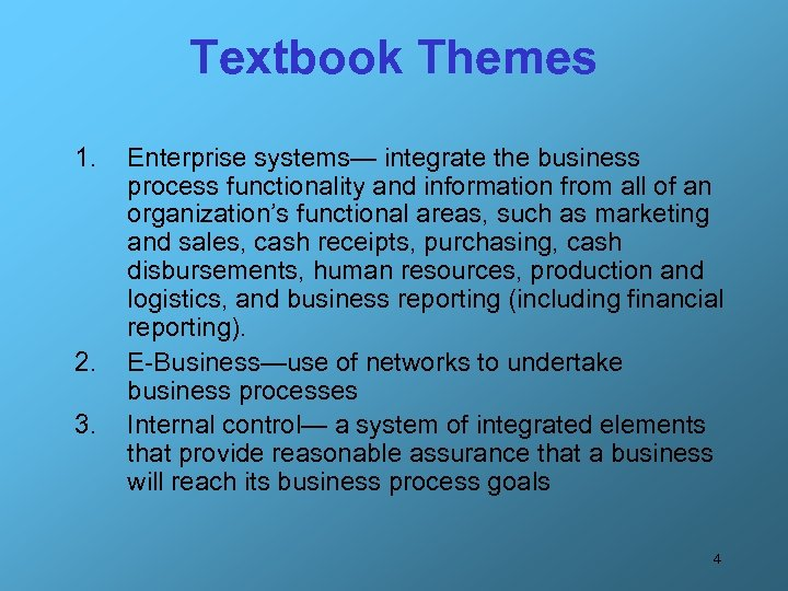 Textbook Themes 1. 2. 3. Enterprise systems— integrate the business process functionality and information