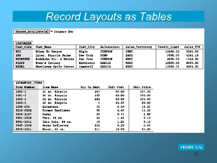 Record Layouts as Tables FIGURE 3. 7 a 51