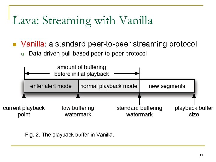 Lava: Streaming with Vanilla n Vanilla: a standard peer-to-peer streaming protocol q Data-driven pull-based