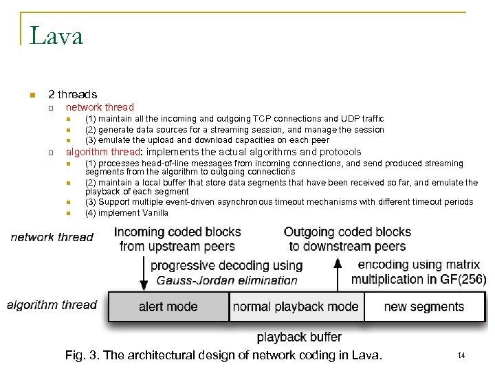 Lava n 2 threads q network thread n n n q (1) maintain all