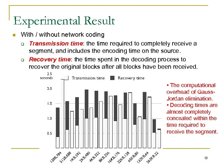 Experimental Result n With / without network coding q Transmission time: the time required