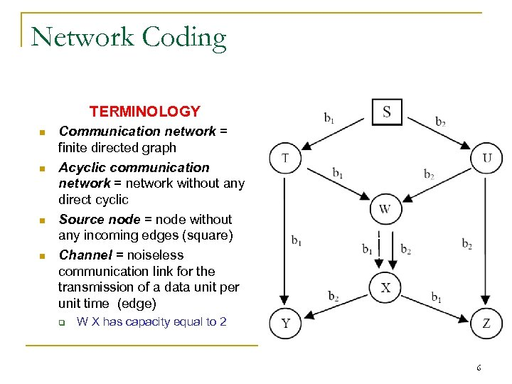 Network Coding TERMINOLOGY n n Communication network = finite directed graph Acyclic communication network