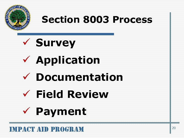 Section 8003 Process ü Survey ü Application ü Documentation ü Field Review ü Payment