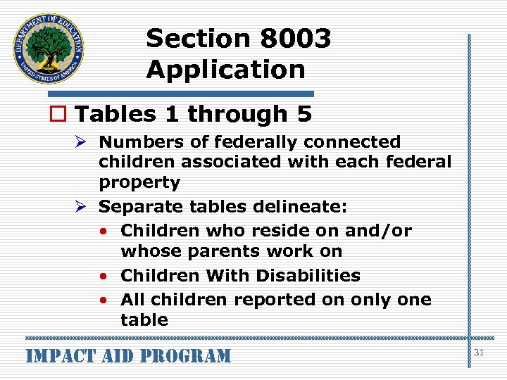 Section 8003 Application o Tables 1 through 5 Ø Numbers of federally connected children
