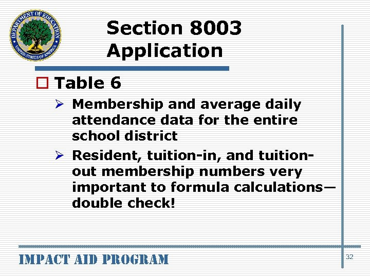 Section 8003 Application o Table 6 Ø Membership and average daily attendance data for
