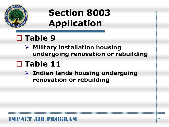 Section 8003 Application o Table 9 Ø Military installation housing undergoing renovation or rebuilding