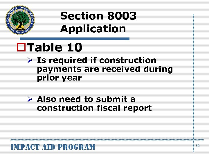 Section 8003 Application o. Table 10 Ø Is required if construction payments are received