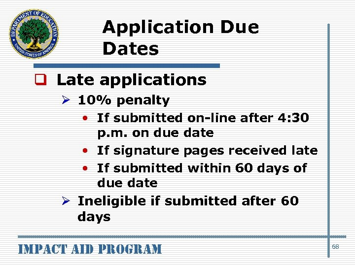 Application Due Dates q Late applications Ø 10% penalty • If submitted on-line after