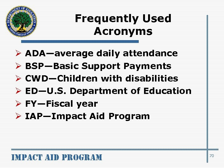 Frequently Used Acronyms Ø Ø Ø ADA—average daily attendance BSP—Basic Support Payments CWD—Children with