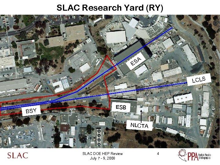 SLAC Research Yard (RY) SA E LCLS BSY ESB NLCTA SLAC DOE HEP Review