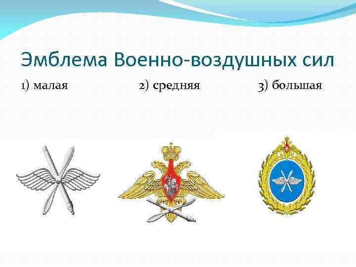 Эмблема Военно-воздушных сил 1) малая 2) средняя 3) большая