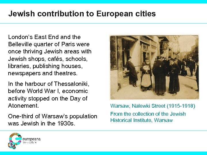 Jewish contribution to European cities London's East End and the Belleville quarter of Paris