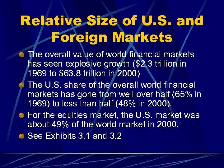 Relative Size of U. S. and Foreign Markets The overall value of world financial