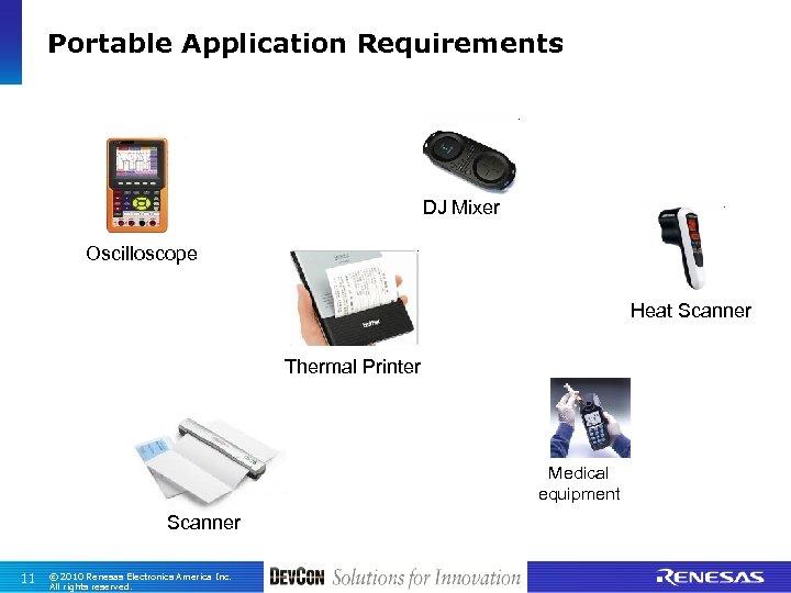 Portable Application Requirements DJ Mixer Oscilloscope Heat Scanner Thermal Printer Medical equipment Scanner 11