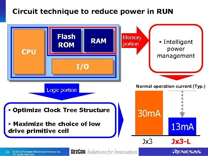Circuit technique to reduce power in RUN CPU Flash ROM RAM Memory portion §