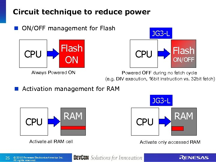 Circuit technique to reduce power n ON/OFF management for Flash CPU Flash ON Always