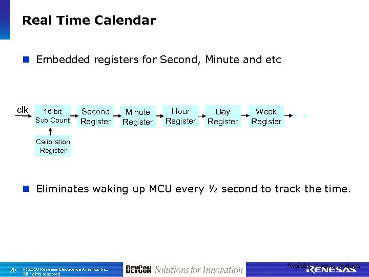 Real Time Calendar n Embedded registers for Second, Minute and etc clk 16 -bit