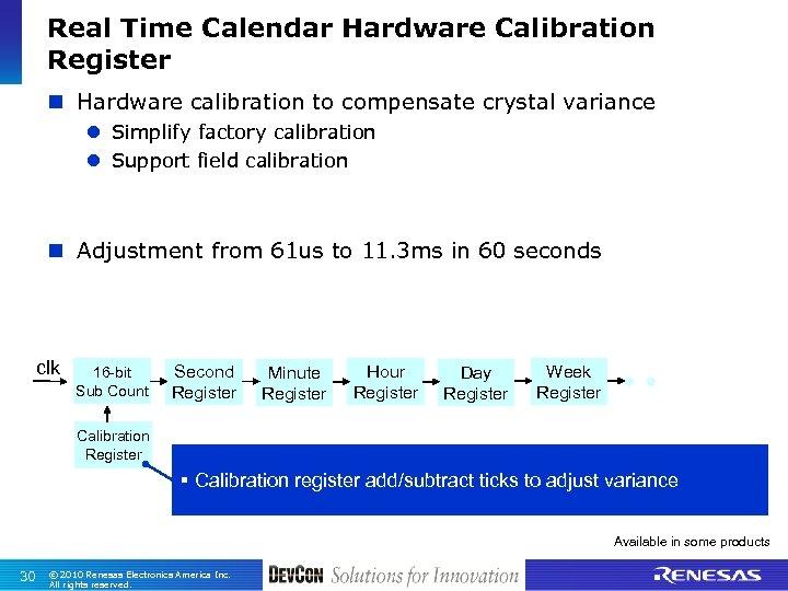Real Time Calendar Hardware Calibration Register n Hardware calibration to compensate crystal variance l