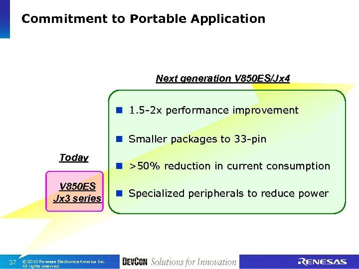 Commitment to Portable Application Next generation V 850 ES/Jx 4 n 1. 5 -2