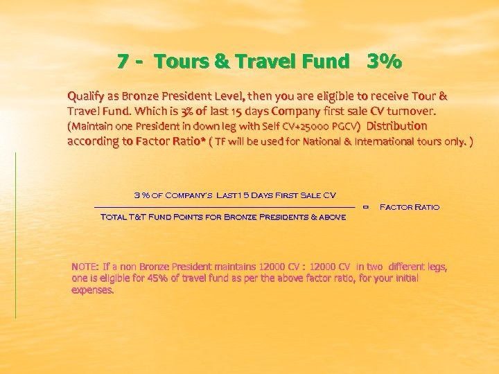 7 - Tours & Travel Fund 3% Qualify as Bronze President Level, then you