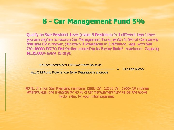 8 - Car Management Fund 5% Qualify as Star President Level (make 3 Presidents