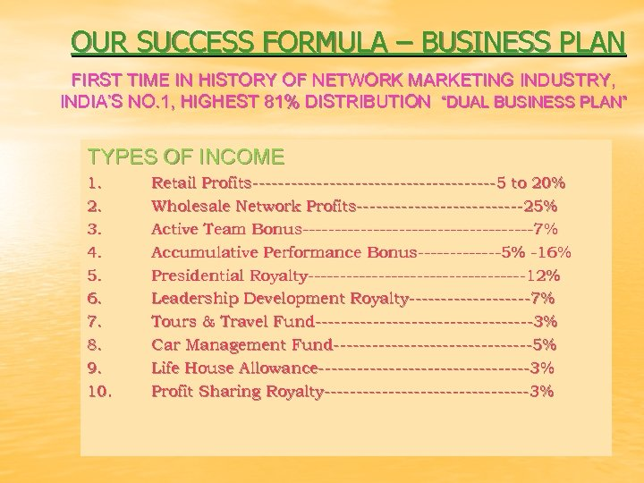OUR SUCCESS FORMULA – BUSINESS PLAN FIRST TIME IN HISTORY OF NETWORK MARKETING INDUSTRY,