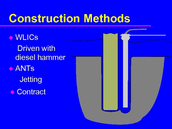 Construction Methods WLICs Driven with diesel hammer l ANTs Jetting l l Contract