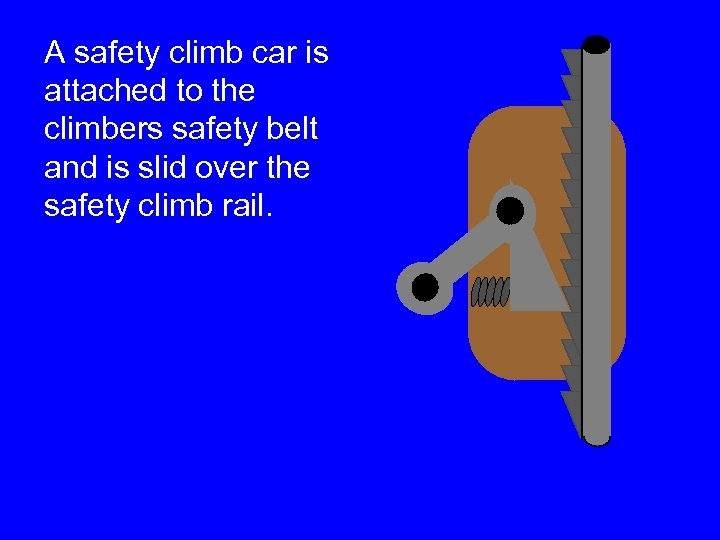 A safety climb car is attached to the climbers safety belt and is slid
