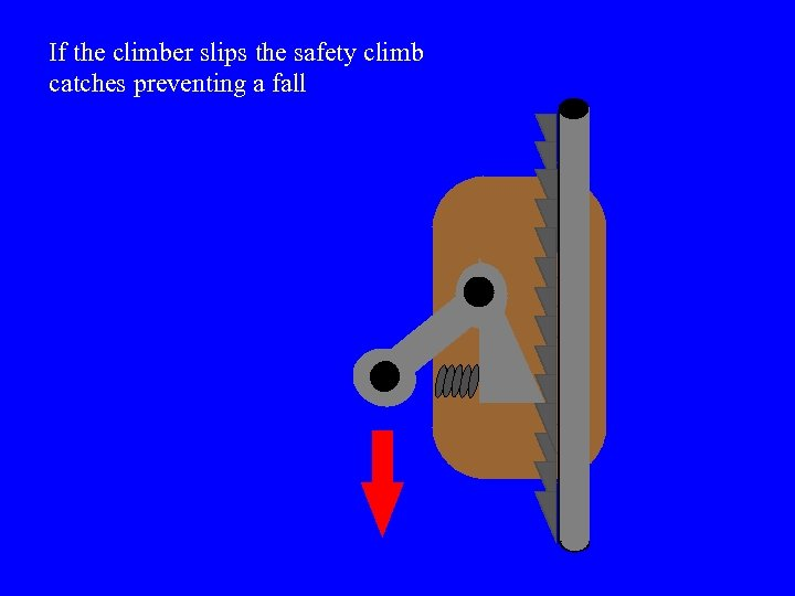 If the climber slips the safety climb catches preventing a fall
