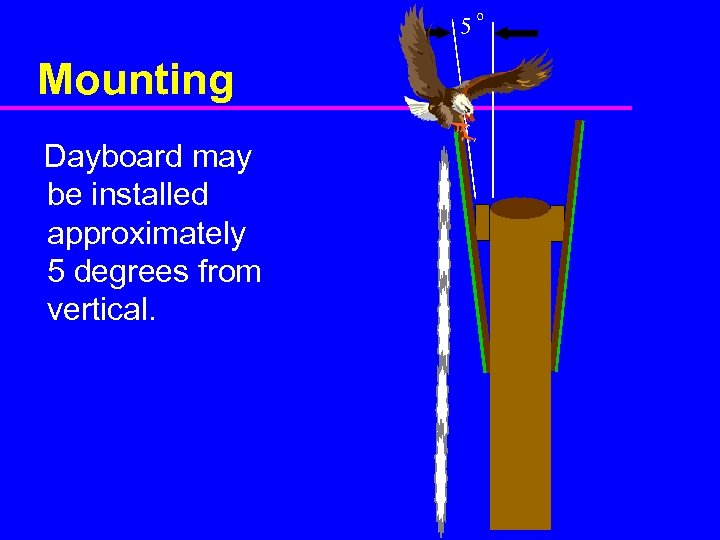 5 Mounting Dayboard may be installed approximately 5 degrees from vertical. o
