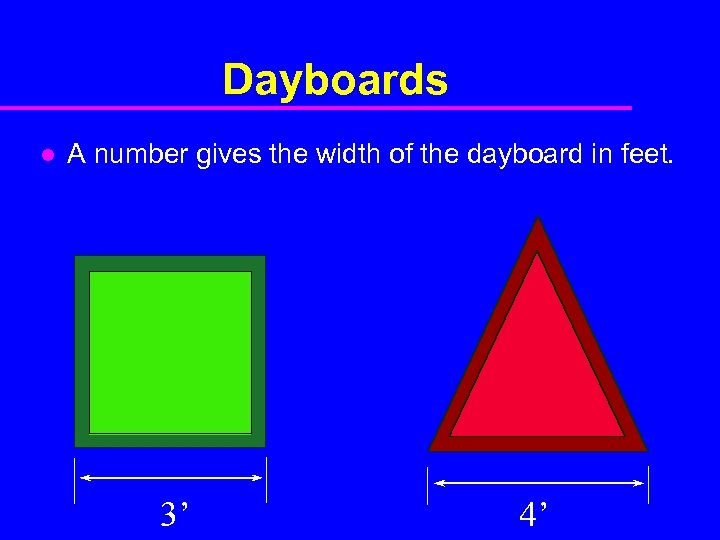 Dayboards l A number gives the width of the dayboard in feet. 3' 4'