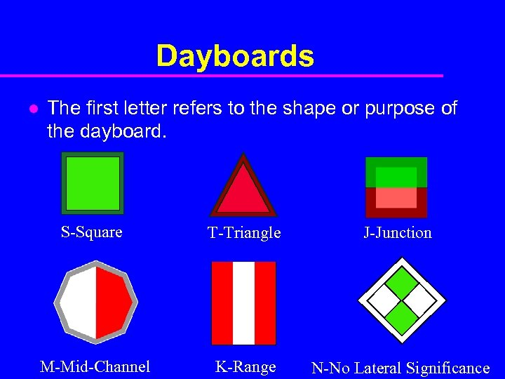 Dayboards l The first letter refers to the shape or purpose of the dayboard.