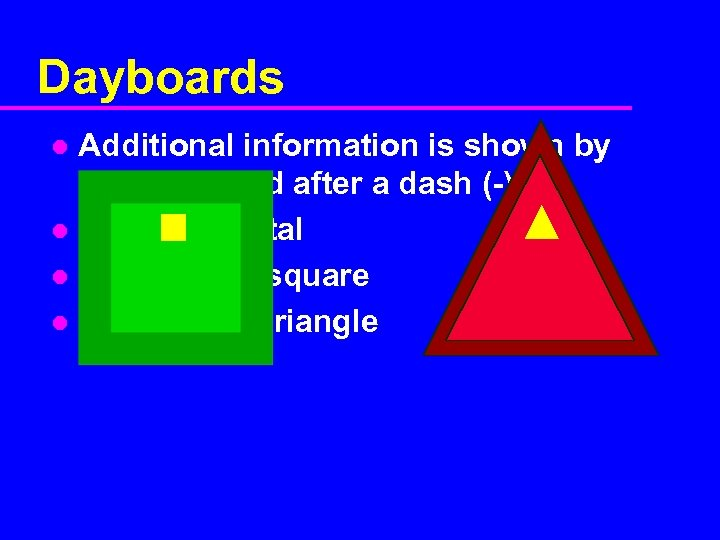 Dayboards Additional information is shown by letters placed after a dash (-) l I