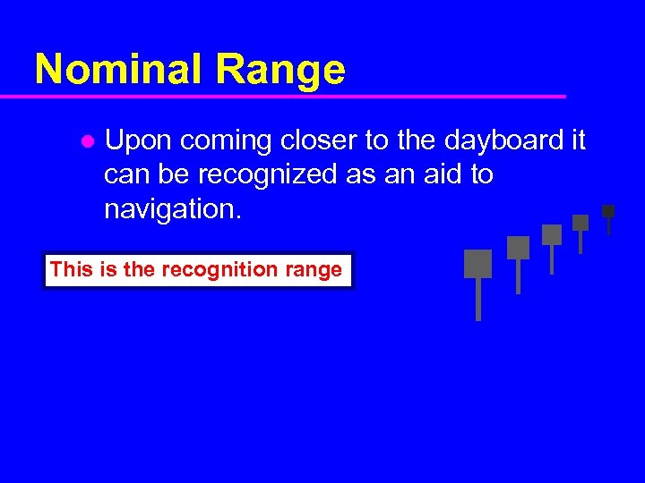 Nominal Range l Upon coming closer to the dayboard it can be recognized as