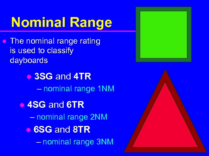 Nominal Range l The nominal range rating is used to classify dayboards l 3