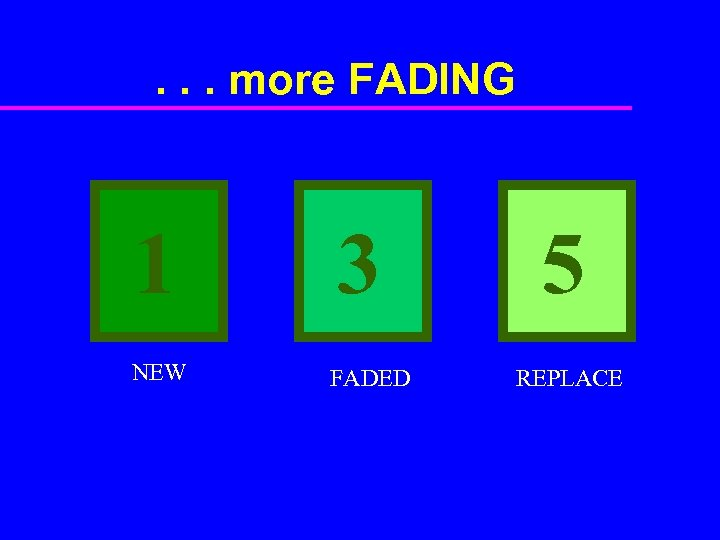 . . . more FADING 1 NEW 3 FADED 5 REPLACE
