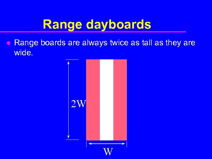 Range dayboards l Range boards are always twice as tall as they are wide.