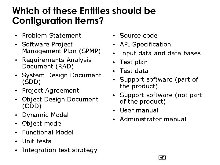 Which of these Entities should be Configuration Items? • Problem Statement • Software Project