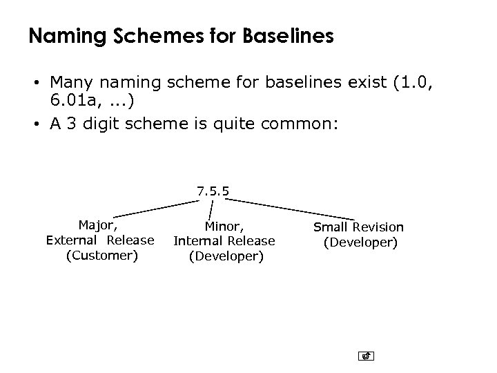 Naming Schemes for Baselines • Many naming scheme for baselines exist (1. 0, 6.