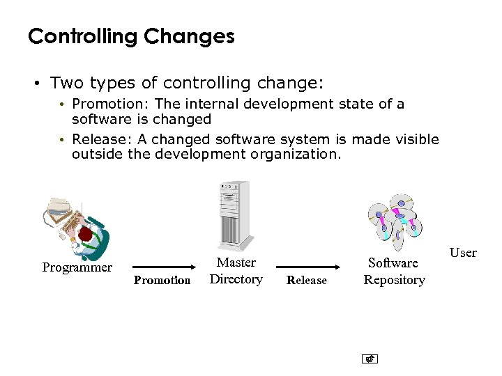 Controlling Changes • Two types of controlling change: • Promotion: The internal development state