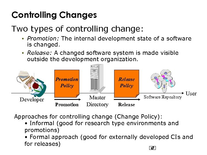 Controlling Changes Two types of controlling change: • Promotion: The internal development state of
