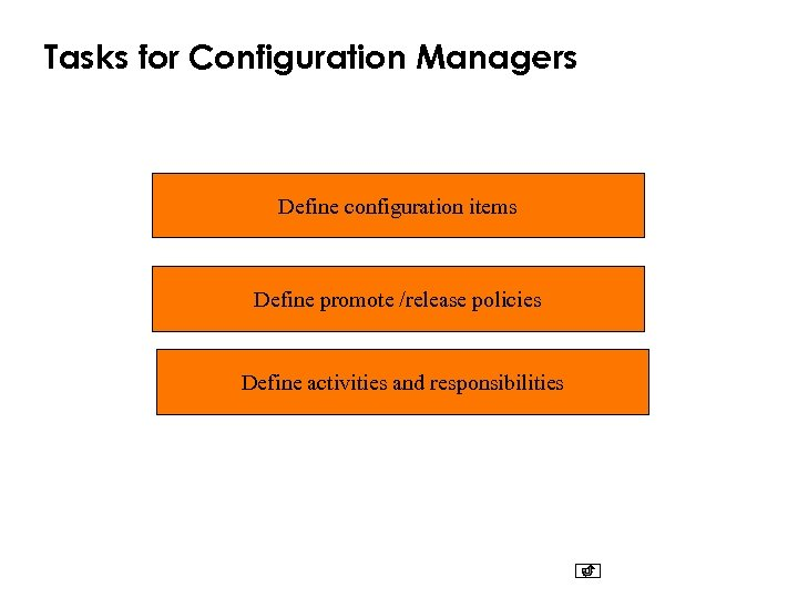 Tasks for Configuration Managers Define configuration items Define promote /release policies Define activities and