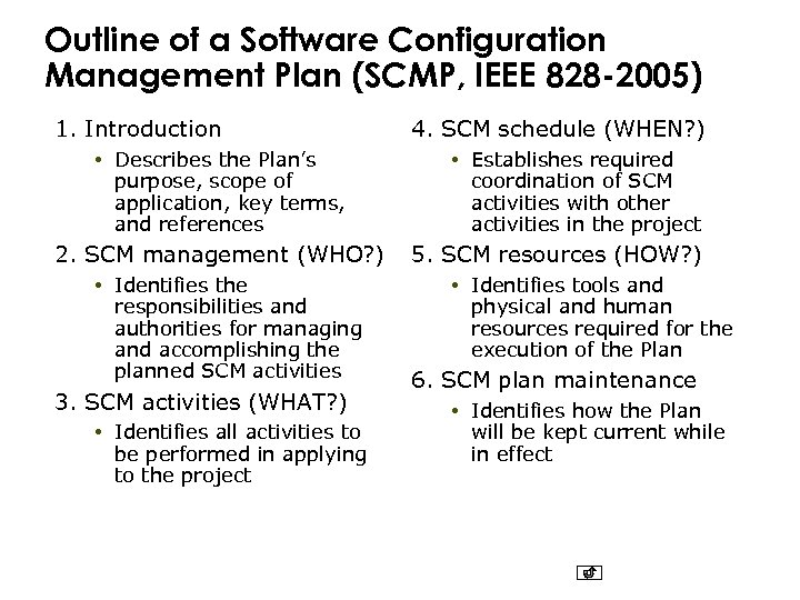 Outline of a Software Configuration Management Plan (SCMP, IEEE 828 -2005) 1. Introduction •